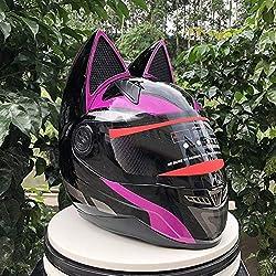 Tik Oreja de Gato con Casco Angular Casco de Moto, Casco de Forma única, Casco con Gafas