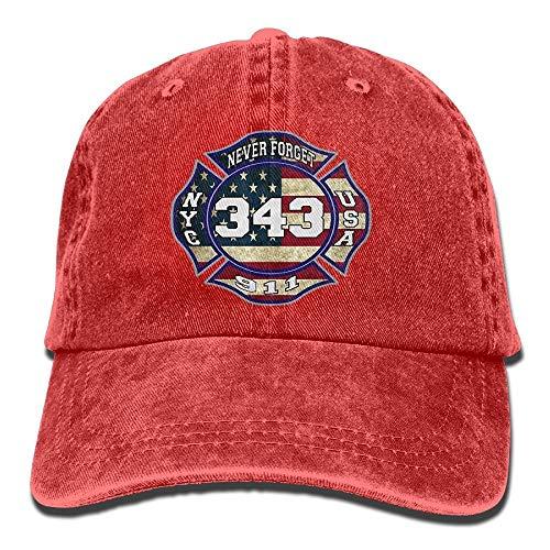 shanghaiyongyunshangwu 911 343 Gefallene Feuerwehrmann-Erinnerungs-Baseballmütze-Denim-Hüte für (Erwachsene Rot Feuerwehrmann Hut)