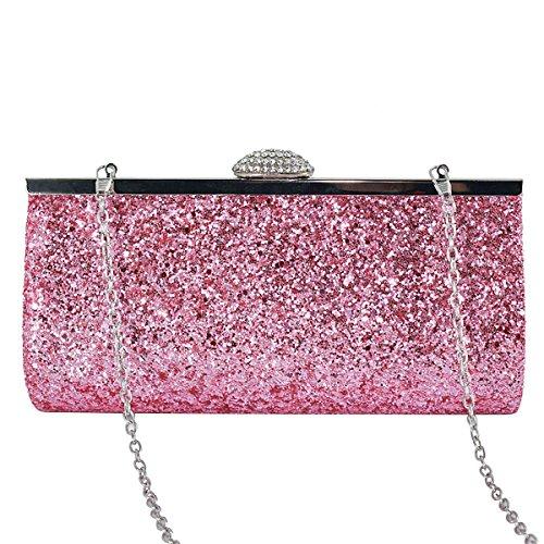 Sasairy Damen Elegant Clutch Abendtasche mit Abnehmbar Kette Glitzer Handtasche für Abend/Hochzeit,Rosa (Abend-handtasche Rosa)