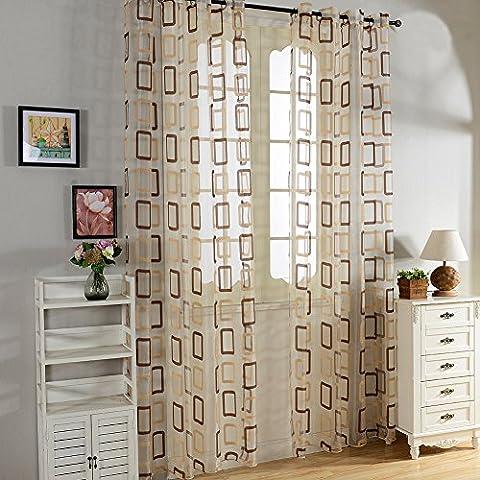 Top Fine cortina transparente de tratamientos para ventana panele con dibujos Cuadrados geometricos, de ojales,140 cm anchura por 245 cm longitud (solo