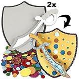 geburtstagsfee Bastelset für Ritter-Kindergeburtstag: 2 Schilder +2 Schwerter +Bastelzubehör