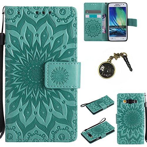 für Smartphone Samsung Galaxy A3 (2015) Hülle,Echt Leder Tasche für Samsung Galaxy A3 (2015) Flip Cover Handyhülle Bookstyle mit Magnet Kartenfächer Standfunktion + Staubstecker (6FF)