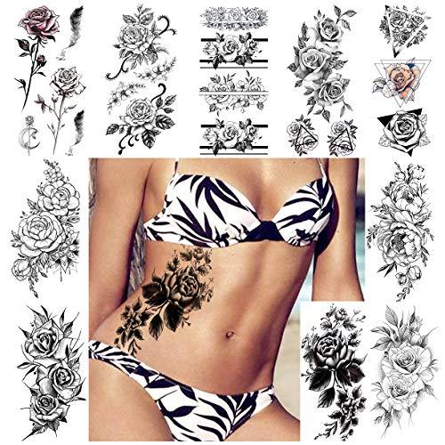LAROI 10 Blätter 3D Sexy Rose Blume Temporäre Tattoos Armband Aufkleber Für Frauen Mädchen Wasserdichte Gefälschter Tattoo Erwachsene Körper Arm Schmuck Feder Blatt Pfingstrose Tattoos Lilie Pfirsich