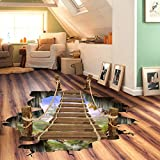 Bridge : Kicode Removable Mural Decals Art Livingroom Decor Drawbridge Designed Wall Floor Sticker Waterproof 3D