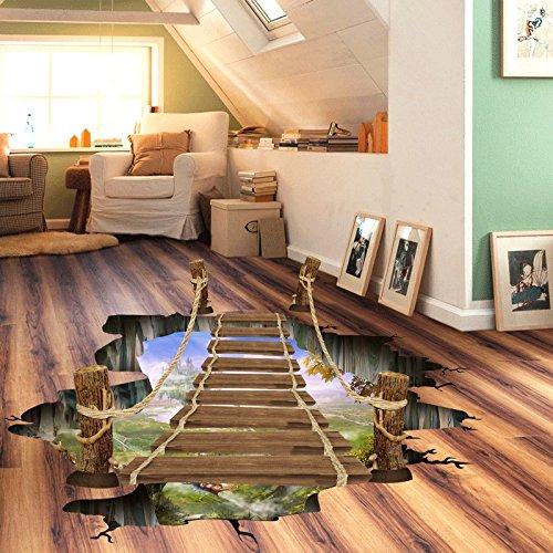 3d-epoxy (Kicode herausnehmbar Wandabziehbild-Kunst-Wohnzimmer-Dekor Zugbrücke Designed Wand Boden Aufkleber Wasserdicht 3D)