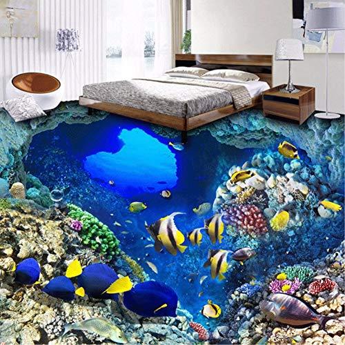 Zybnb carta da parati 3d per foto underwater world adesivi per pavimenti in vinile pesci tropicali adesivo per bagno in pvc autoadesivo
