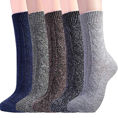 Jeasona Damen 5 paare s wollsocken warmen winter-vintage-knit-boot-crew socken geschenke US Size 6-9 Dark-5 Pairs -
