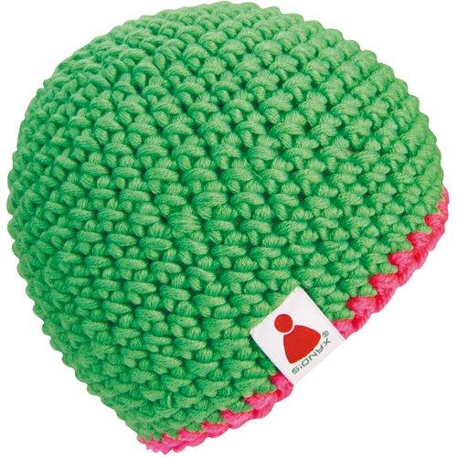 neon-pink Beanie Mütze gehäkelt OHNE Bommel in Handarbeit ()