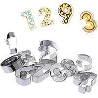 AukCherie Set da 9 Grandi Tagliabiscotti in Metallo a Forma di Numero, Numeri in Acciaio Inossidabile da 0 a 9 Forme Perfette per Cottura Torte Decorazione Glassa e Pasta di Zucchero (9 Numero)