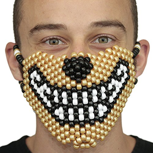 Gold Wolf Kandi Mask by Kandi Gear, rave mask, halloween mask, beaded mask, bead mask for music fesivals and parties