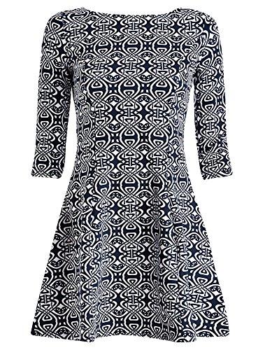 oodji Ultra Femme Robe en Tissu Épais avec Imprimé Bleu (1079E)