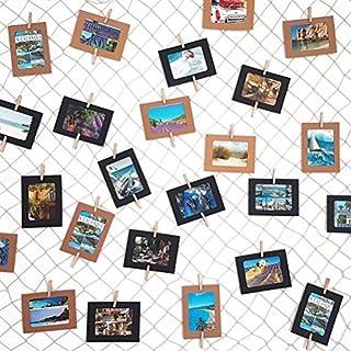 LeTOMA - Fotonetz 2x1m aus 100% Baumwolle ideal um Fotos aufzuhängen - 50 stabile Holzklammern (5cm lang), 20 dezente weiße Spezialhaken, 4 Saugnäpfe - Dekonetz, Fotoseil