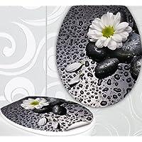 StickerProfis WC Sitz Aufkleber WHITE FLOWER Design Folie Dekor für Toilettendeckel Klodeckel incl. 2 Fliesenaufkleber