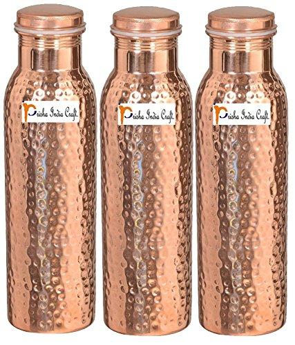 1000ml/33.81oz-Set von 3-Prisha Indien Craft-Kupfer gehämmert Wasser Flasche   Gemeinsame frei, beste Qualität Wasser Flasche-Handarbeit Weihnachten Geschenk - Gehämmert Bar Set