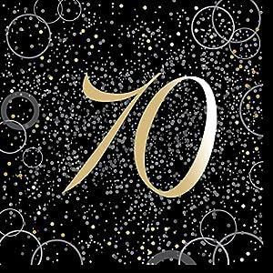 Unique Party- Paquete de 16 servilletas de papel de 70 cumpleaños, Color dorado metálico brillante (57494)