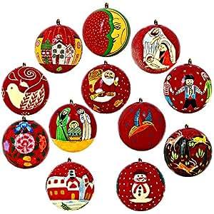 albero di natale ornamenti rosso arredamento cartapesta palle set di 10