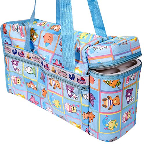 Guru kripa Baby Products™ Presents New Born Baby Multipurpose Mother Bag Cum Portable Thermal Warmer Cyan With Holder Dipper Changing Multi Compartment For Baby Care And Maternity Handbag Messenger Bag Diaper Nappy Mama Shoulder Bag Diaper With Warmer Bag With 2 Bottle Holders Keep Baby Bottles Warm With 2 For Baby Multipurpose Waterproof Mother Bag Diaper Bag (Blue)  available at amazon for Rs.645
