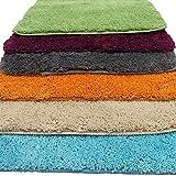 proheim Badematte 2-teiliges Set 50 x 80 und 45 x 50 cm rutschfester Badvorleger Premium Badteppich 1200 g/m² weich & kuschelig Hochflor Duschvorleger, Farbe:Orange - 9