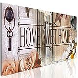 decomonkey | Bilder Home 120x40 cm | 1 Teilig | Leinwandbilder | Bild auf Leinwand | Vlies | Wandbild | Kunstdruck | Wanddeko | Wand | Wohnzimmer | Wanddekoration | Deko | Retro Haus Blumen Schlüssel Holz Vintage