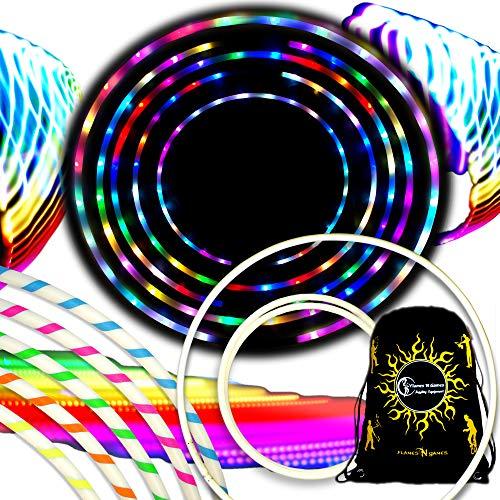 Flames N Games Euphoria Glow LED Hula Hoop Reifen mit 29 Blinkenden Farbig LEDs - Akku Enthalten + Tasche! Helle Farben Für Hoop Dance und Übung Für Alle Altersgruppen - 90cm! (Grün)