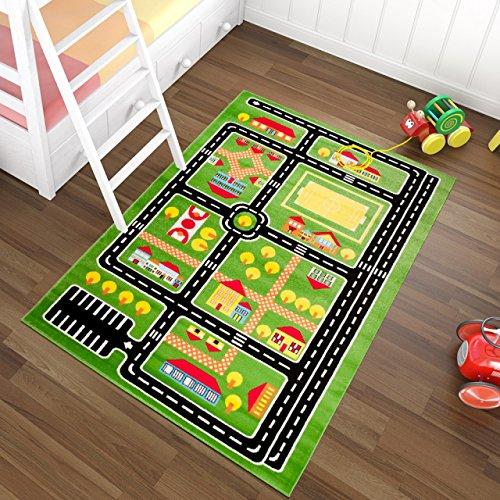 Tapiso Kinder Teppich Kurzflor Kinderteppich Spielteppich Stadt Straße Muster Grün Bunt Straßenteppich Kinderzimmer ÖKOTEX 80 x 150 cm (Kinder Stadt-teppich Für)