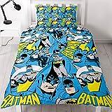 BATMAN DC DC Comics Batman-Bettbezugsset für Einzelbett, Wiederholungsdruck-Design