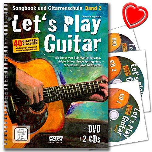 Let's Play Guitar 2Ruban–École d'Alexandre Espinosa Guitare avec DVD, 2CD, coloré Cœur Note Programme d'enseignement Pince–Remarque./Vidéo pédagogique conformément § 14juschg