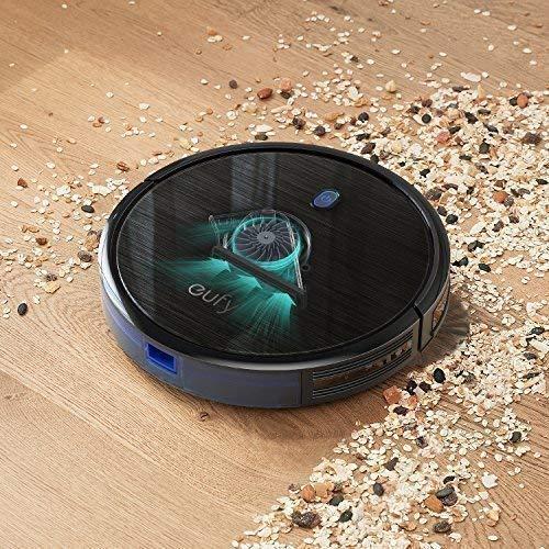 Saugroboter eufy RoboVac 11S (Slim) mit BoostIQ, Superschlank, Starke 1300Pa Saugkraft, geräuscharmer Betrieb, Selbstaufladender Roboterstaubsauger, ideal für Haustierbesitzer, Reinigt harte Böden, mittelhohe Teppiche, Hartholz,Fliesen und mehr