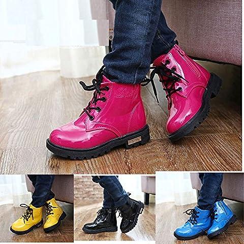 4 colores Unisex Niños Botas con impermeable de cuero de la PU Martin Botas para Niños y Niñas Zapatos Niños Invierno