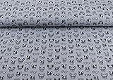 Musselin Double Gauze Stoff mit Hunden auf grau als