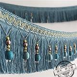 2yards geflochten Perlen hängenden Kugel Quaste Fransen trimmen Applikation Stoff trimmen Band Vorhang Tisch Hochzeit verziert blau