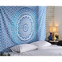 RAJRANG BRINGING RAJASTHAN TO YOU Tapestry Wall Hanging - Blue Ombre Mandala Hanging Small Tapestries Elegant Boho Beach Towel Tapesty for Home Decor - 127x152 cm