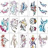 SZSMART Tatuajes Temporales, Delfín, Ballena, Flor, Gato Tatuaje Falso Pegatinas Impermeable, (15 Hojas) Regalo para la Fiesta de Cumpleaños Navidad de Niños Niñas Infantiles Etiqueta