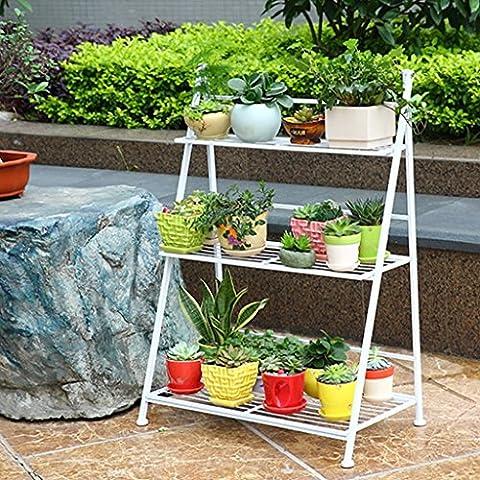 BEITE- 3/4 Tier dekorative weiße Metall Pflanze Stand / Pflanzer Halter / Multi Pflanzer Blumentopf Racks ( größe : 50cm*38cm*96cm )