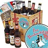 Zum Hochzeitstag ♥ Bier Geschenk Box ♥ DDR Bier Box ♥ Zum Hochzeitstag ♥ Bierset Geschenk ♥ Geschenk zum Hochzeitstag Freunde ♥ GRATIS Bierbewertungsbogen, 6 Geschenk Karten + Umschläge, 3 Urkunden