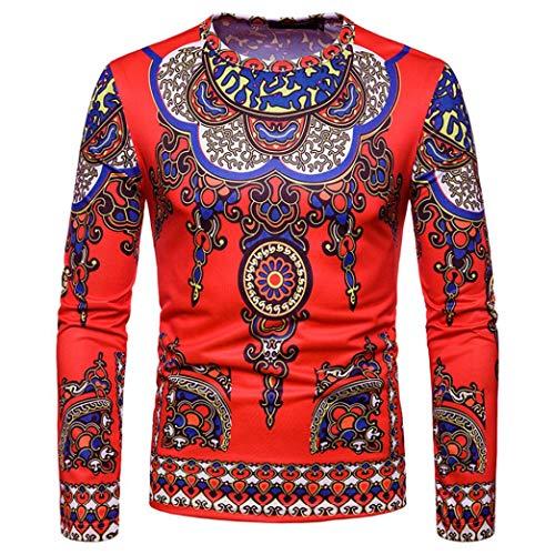 CICIYONER Top Bluse für Herren, Herren Herbst Winter Beiläufig afrikanisch Stammes Dashiki Lange Ärmel zur Seite Fahren Oben Bluse