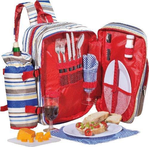 Esmeyer 199-419 18-tlg. Picknickrucksack TRAMP PVC, mit isoliertem Hauptfach für Lebensmittel und abnehmbarem Flaschenhalter,