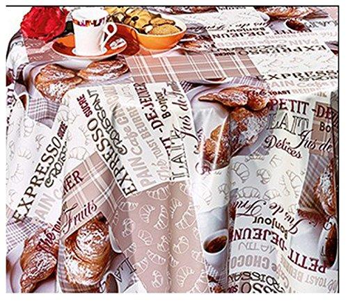 140 x 160cm Motiv Kaffee und Croissants, abwaschbar (Runde Vinyl Tischdecke Ausgestattet)