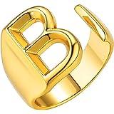 حلقات أولية قابلة للتعديل من بيرلاف، خاتم مفتوح الإصبع قابل للتكديس للنساء من A-Z