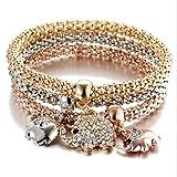 TAOtTAO Charm Frauen Armband Gold Silber Rose Gold Strass Armreif Schmuck-Set (C)