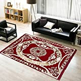 "Warmland Traditional Chenille Carpet - 60""x84"", Red 9"