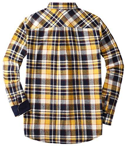 Mocotono Herren Langarm Kariertes Hemd Baumwolle Flanell Hemd mit Super  Qualität Gelb ... 7c596a2a7a