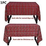 Mantel de Navidad de Doble Cara Cubierta de Tabla Rojo-Verde, Mantel de impresión de la Tela Escocesa para Restaurante decoración del hogar Rojo