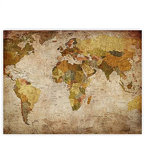Leinwandbild 100x75 cm PREMIUM Leinwand Bild - Wandbild Kunstdruck Wanddeko Wand Canvas - VINTAGE ATLAS - Weltkarte Antik Atlaskarte Atlanten Karte alte Karte alter Atlas - no.