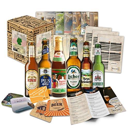 """""""BIERE DER WELT"""" Geschenkkarton ++ Bierinformationen ++ Bierdeckel. Biergeschenk für Männer / Geburtstag / Weihnachten etc. Die perfekte Geschenkidee für Männer"""