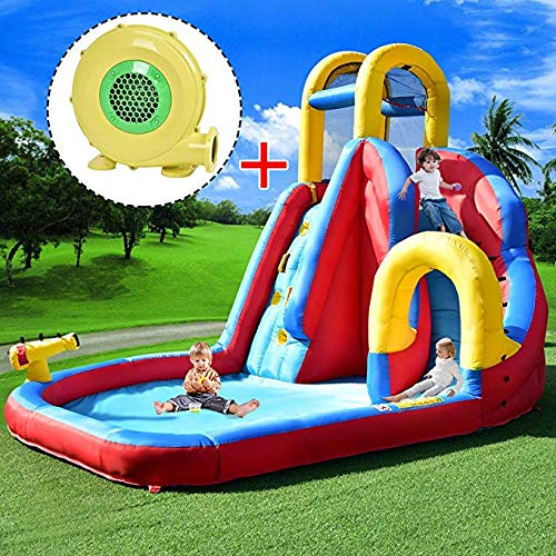 COSTWAY Inflatable Bouncy Castle Jumper House Water Pool Slide Activity Center, 2 Type (Type 2 Bouncy Castle + 680W Blower)