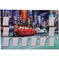 Preisvergleich für Schreibtischunterlage Disney Cars Lightning McQueen / mit einmaleins Rechentafel incl. Name - 50 cm * 36 cm - PVC Unterlage / Knetunterlage / Schreibunterlage / Tischunterlage - für Jungen Mc Queen Auto Fahrzeuge
