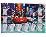 Schreibtischunterlage Disney Cars Lightning McQueen / mit einmaleins Rechentafel incl. Name - 50 cm * 36 cm - PVC Unterlage / Knetunterlage / Schreibunterlage / Tischunterlage - für Jungen Mc Queen Auto Fahrzeuge