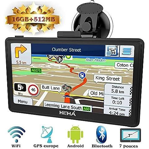 Hieha® GPS Auto Voiture ou Camion Android Système d'Operation 4.4.2 Navigation16Go Wifi Bluetooth 7 Pouces Écran HD Tactile Capacitif Carte d'Europe Pré-installée Navigateur Cartographie Gratuits à