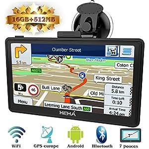 Hieha 7 Inch Car Truck Lorry GPS Android SAT NAV Satellite Navigation System Navigator WIFI Bluetooth HD Capacitive Touch Screen SpeedCam POI MP3 Lifetime UK EU Maps Updates 512M 16G Upgraded Version